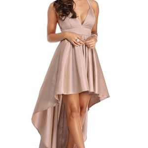 Windsor Lizbeth Taupe Champagne Prom Formal Dress